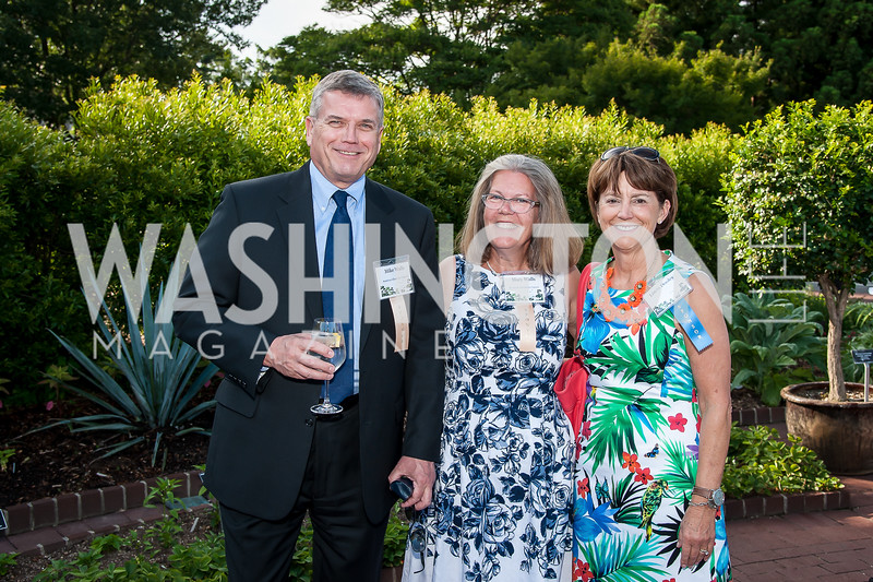 Mike and Mary Walls, Linda Dooley. Photo by Tony Powell. 2016 National Arboretum Dinner. June 13, 2016