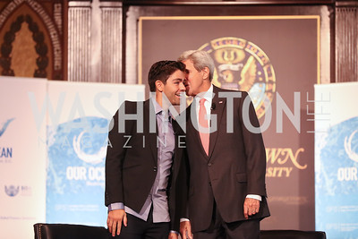 Adrian Grenier, Sec. John Kerry. Photo by Tony Powell. 2016 Our Ocean Conference. GU. September 16, 2016