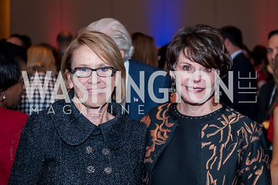 Marcia Carlucci, Marlene Malek. Photo by Tony Powell. 2016 Out of the Shadows Dinner. Reagan Building. September 28, 2016