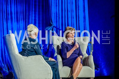 Diane Rehm, Laura Bush. Photo by Tony Powell. 2016 Out of the Shadows Dinner. Reagan Building. September 28, 2016
