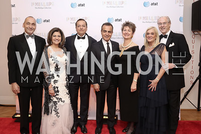 Thomas Krähenbühl, Kay and Sunny Kapoor, Qatar Amb. Mohammed Al Kuwari, Dorothy Kosinski, Trish and George Vradenburg. Photo by Tony Powell. 2016 Phillip's Collection Gala. May 13, 2016