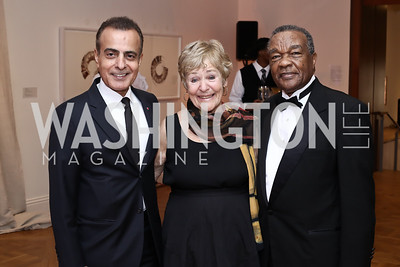 Qatar Amb. Mohammed Al Kuwari, Lynne Horning, David Driskell. Photo by Tony Powell. 2016 Phillip's Collection Gala. May 13, 2016