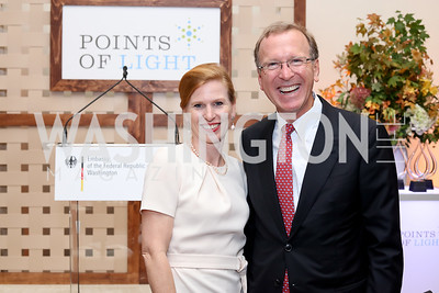 Huberta Wittig, Neil Bush. Photo by Tony Powell. 2016 Points of Light Tribute Awards. Residence of Germany. October 20, 2016
