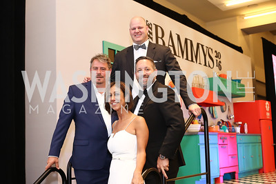 Robert Wiedmaier,  Kathy Hollinger, Scott Drewno, Mike Isabella. Photo by Tony Powell. 2016 RAMMY Awards. Convention Center. June 12, 2016