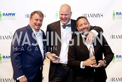 Formal fine dining Restaurant of the Year Marcel's Robert Weidmaier, Chef of the Year Scott Drewno, Restaurateur of the Year Mike Isabella. Photo by Tony Powell. 2016 RAMMY Awards. Convention Center. June 12, 2016
