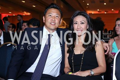 Foggy Bottom International's Robert Kang and NBC News anchor Eun Yang. Photo by Tony Powell. 2016 RAMMY Awards. Convention Center. June 12, 2016