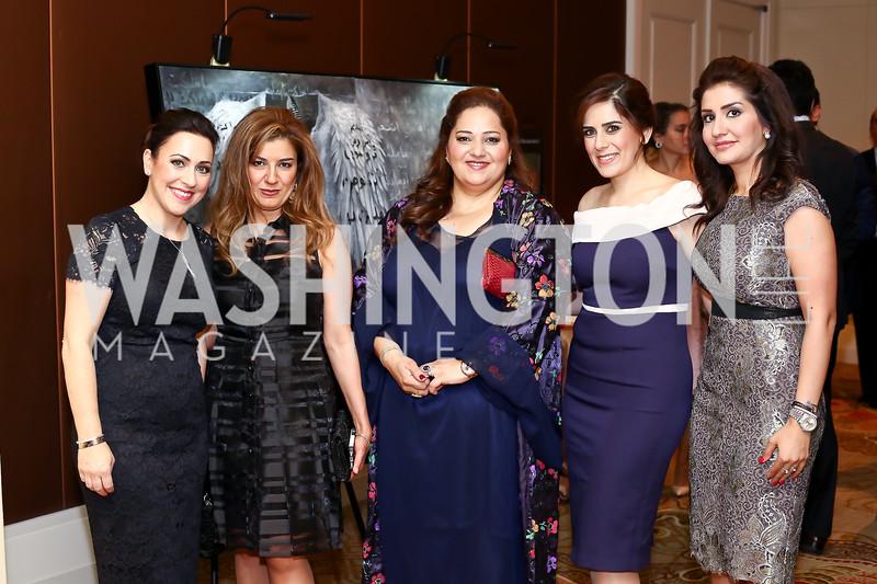 Sherri Kraham Talabani, Ava Nadir, Tanya Gilly Khailany, Carol Khoury Youssef, Janne Botani. Photo by Tony Powell. 2016 SEED Kurdistan Gala. Mandarin Oriental. May 19, 2016