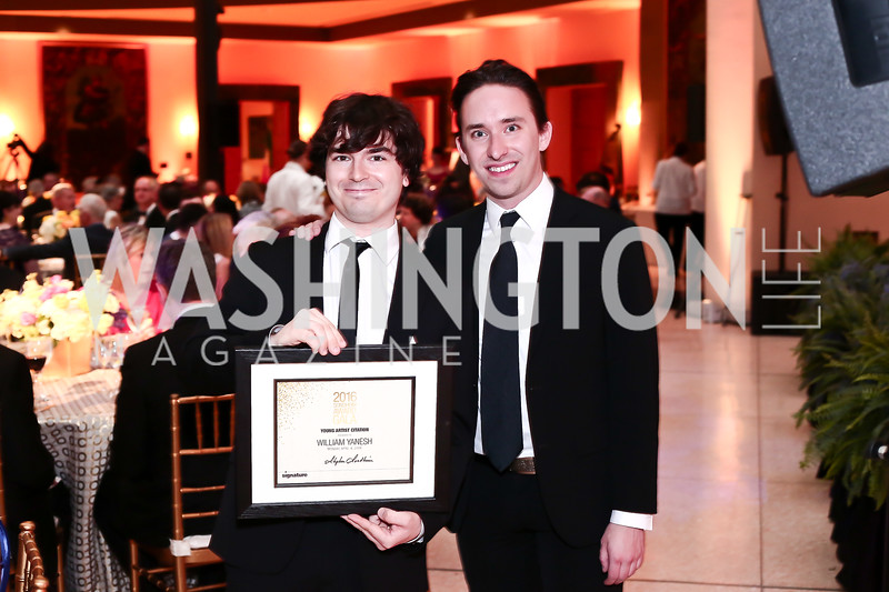 Young Artist Citation Recipient William Yanesh, Signature Associate Artistic Director Matthew Gardner. Photo by Tony Powell. 2016 Signature Theatre Sondheim Award. Italian Embassy. March 4, 2016