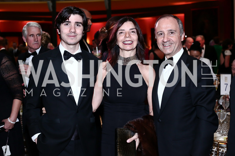 Umberto Varricchio, Micaela Varricchio and Italy Amb. Armando Varricchio. Photo by Tony Powell. 2016 Signature Theatre Sondheim Award. Italian Embassy. March 4, 2016