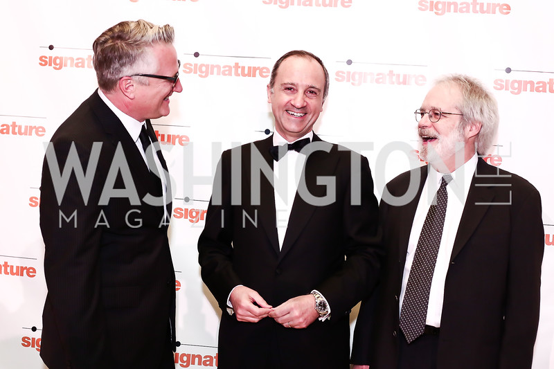 Eric Schaeffer, Italy Amb. Armando Varricchio, John Weidman. Photo by Tony Powell. 2016 Signature Theatre Sondheim Award. Italian Embassy. March 4, 2016