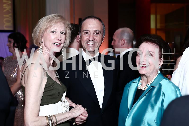 Lola Reinsch, Italy Amb. Armando Varricchio, Lucky Roosevelt. Photo by Tony Powell. 2016 Signature Theatre Sondheim Award. Italian Embassy. March 4, 2016