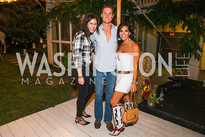 Alyse Cohen, Brendan Scanlon, Bethany Scanlon. Photo by Alfredo Flores. 2016 Stroud Foundation Hoedown in Georgetown‏. Home of Brooke and Stephane Carnot. September 17, 2016
