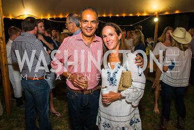 Neil Patel, Amy Patel. Photo by Alfredo Flores. 2016 Stroud Foundation Hoedown in Georgetown‏. Home of Brooke and Stephane Carnot. September 17, 2016