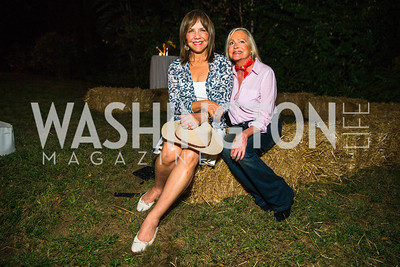 Barbara Harrison, Deborah Sigmund. Photo by Alfredo Flores. 2016 Stroud Foundation Hoedown in Georgetown‏. Home of Brooke and Stephane Carnot. September 17, 2016