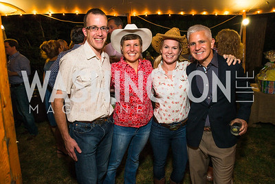 Ned Johnson, Vanessa Johnson, Paige Kerill, Patrick Steel. Photo by Alfredo Flores. 2016 Stroud Foundation Hoedown in Georgetown. Home of Brooke and Stephane Carnot. September 17, 2016