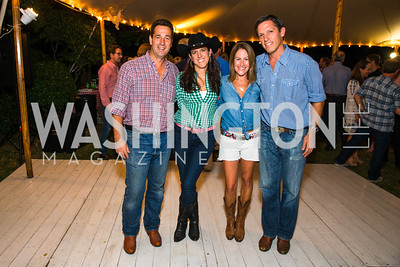 Stephane Carnot, Brooke Stroud Carnot, Shannon Stroud, Lindsay Stroud,  Photo by Alfredo Flores. 2016 Stroud Foundation Hoedown in Georgetown. Home of Brooke and Stephane Carnot. September 17, 2016