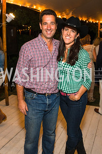 Stephane Carnot, Brooke Stroud Carnot.  Photo by Alfredo Flores. 2016 Stroud Foundation Hoedown in Georgetown. Home of Brooke and Stephane Carnot. September 17, 2016