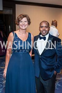 Liz O'Farrell, George Spencer. Photo by Tony Powell. 2016 Thurgood Marshall College Fund Gala. Washington Hilton. November 21, 2016