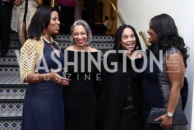 Cynthia Anderson, Kimberly Jeffries Leonard, Sandra Britt, Shani Waugh. Photo by Tony Powell. 2016 Tuxedo Ball. Omni Shoreham. December 30, 2016