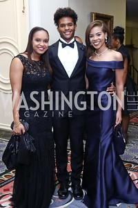 Kyndall Ashe, Demitri McCray, Lauren Brown. Photo by Tony Powell. 2016 Tuxedo Ball. Omni Shoreham. December 30, 2016