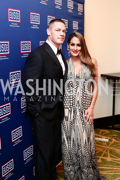 John Cena, Nikki Bella. Photo by Tony Powell. 2016 USO Annual Awards Dinner. April 19, 2016