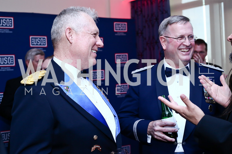 Col. Tom Davis, Lt. Gen. Tom Trask. Photo by Tony Powell. 2016 USO Annual Awards Dinner. April 19, 2016