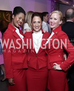 Andrea Burton, Francesca Kerridge, Pamela McCormick. Photo by Tony Powell. 2016 Virgin Atlantic Business is an Adventure Event. Longview Gallery. April 26, 2016