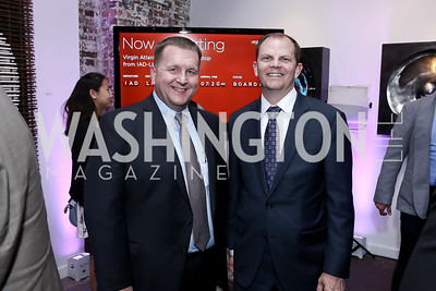Jim Igo, Greg Kinsella. Photo by Tony Powell. 2016 Virgin Atlantic Business is an Adventure Event. Longview Gallery. April 26, 2016