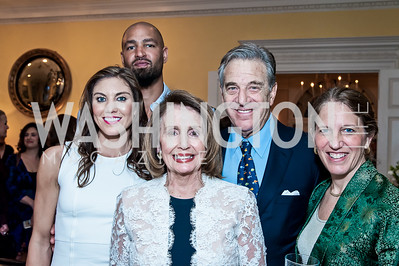 Hope Solo, Jerramy Stevens, Leader Nancy Pelosi and Paul Pelosi, Sylvia Burwell. Photo by Tony Powell. 2016 WHCD Bradley Welcome. April 29, 2016