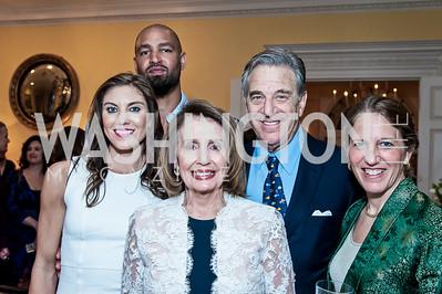 Hope Solo, Jerramy Stevens, Leader Nancy Pelosi and Paul Pelosi, Sylvia Burwell. Photo by Tony Powell. 2016 WHCD Bradley Welcome. April 29, 2016