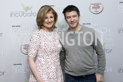 Arianna Huffington, Uber CEO Travis Kalanick. Photo by Tony Powell. 2016 WHCD Garden Brunch. April 30, 2016