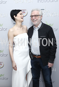 Actress Jaimie Alexander, Wolf Blitzer. Photo by Tony Powell. 2016 WHCD Garden Brunch. April 30, 2016