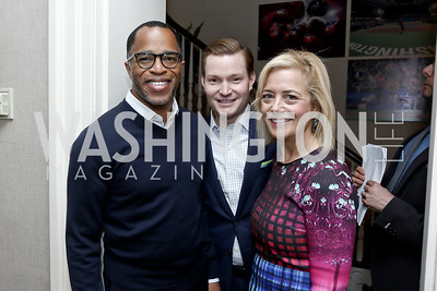 Jonathan Capehart, Nick Schmit, Hilary Rosen. Photo by Tony Powell. 2016 WHCD Garden Brunch. April 30, 2016