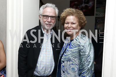Wolf Blitzer, Debra Lee. Photo by Tony Powell. 2016 WHCD Garden Brunch. April 30, 2016