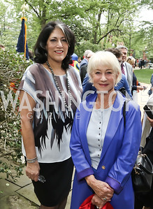 Tammy Haddad, Dame Helen Mirren. Photo by Tony Powell. 2016 WHCD Garden Brunch. April 30, 2016