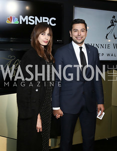 Kenza Fourati and MSNBC's Ayman Mohyeldin. Photo by Tony Powell. 2016 WHCD MSNBC After Party. Inst. of Peace. April 30, 2016