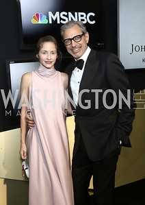 Emilie Livingston and Jeff Goldblum. Photo by Tony Powell. 2016 WHCD MSNBC After Party. Inst. of Peace. April 30, 2016