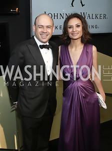 Raj Kumar and Maria Teresa Kumar. Photo by Tony Powell. 2016 WHCD MSNBC After Party. Inst. of Peace. April 30, 2016