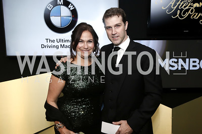 NARAL Pro-Choice America's Ilyse Hogue and KNP Communication's John Neffinger. Photo by Tony Powell. 2016 WHCD MSNBC After Party. Inst. of Peace. April 30, 2016