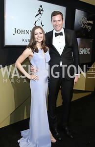 Real Clear Politics' Rebecca Berg, Brendan Buck. Photo by Tony Powell. 2016 WHCD MSNBC After Party. Inst. of Peace. April 30, 2016