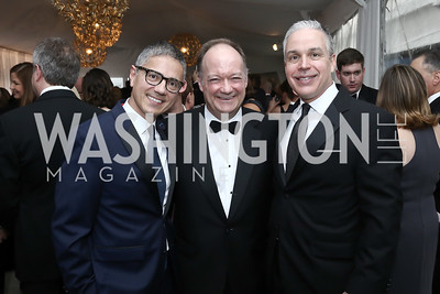 Vice President Joe Biden Residence Manager and Social Secretary Carlos Elizondo, Jack DiGioia, Mark Dumas. Photo by Tony Powell. 2016 WHCD Pre-parties. Hilton Hotel. April 30, 2016