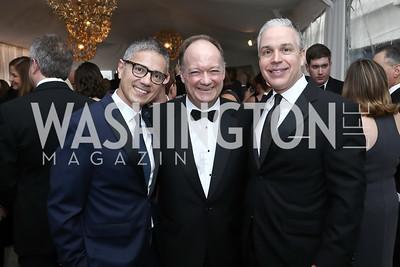 Vice President Joe Biden Residence Manager and Social Secretary Carlos Elizondo, Jack DiGioia, Mark Dumas. Photo by Tony Powell. 2016 WHCD Pre-parties. Hilton Hotel. April 30, 2016