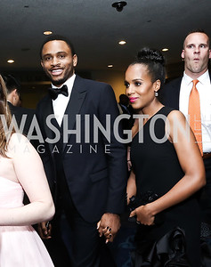 Nnamdi Asomugha and Kerry Washington. Photo by Tony Powell. 2016 WHCD Pre-parties. Hilton Hotel. April 30, 2016