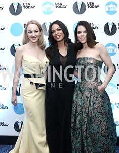 The Goldbergs' Wendi McLendon-Covey, Rosario Dawson, Neve Campbell. Photo by Tony Powell. 2016 WHCD Pre-parties. Hilton Hotel. April 30, 2016
