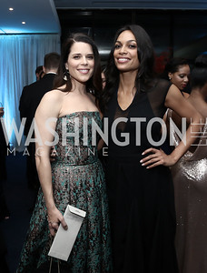 Rosario Dawson, Neve Campbell. Photo by Tony Powell. 2016 WHCD Pre-parties. Hilton Hotel. April 30, 2016