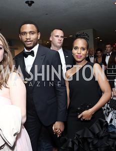 Nnamdi Asomugha and Kerry Washington. Photo by Tony Powell. 2016 WHCD Pre-parties. Hilton Hotel. April 30, 2016