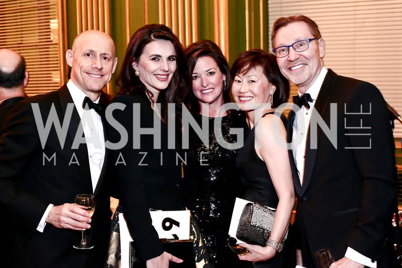 Tony Otten, Kosovo Amb. Vlora Citaku, Denise Grant, Janice Kim, Michael Olding. Photo by Tony Powell. 2016 WPA Gala. Mellon Auditorium. March 5, 2016