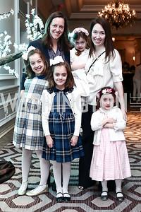 Milly, Sarah, and Beatrix Cannova, Nelly Berman, Johanna Howe, Scottie Berman. Photo by Tony Powell. 2016 Wacky and Whimsical Tea to Benefit THEARC. Ritz Carlton. March 3, 2016