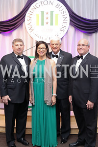 Deloitte & Touche Managing Partner Gary Tabach, Gensler Co-CEO Diane Hoskins, Geico CEO Tony Nicely, MedStar Health CEO Kenneth Samet. Photo by Tony Powell. 2016 JA Hall of Fame. Building Museum. November 30, 2016
