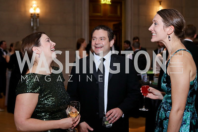 Brooke Daniels, Brett Lambo, Katie Randall. Photo by Tony Powell. 2016 White Hat Gala. Building Museum. October 27, 2016